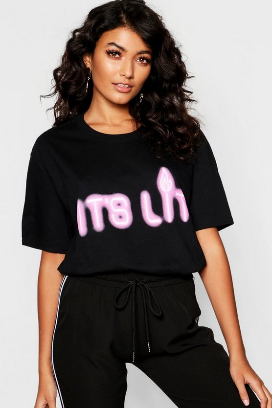 Womens Black Its Lit Slogan T-Shirt