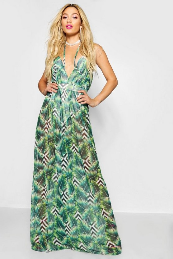 Womens Green Palm Print Mesh Maxi Dress