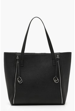 Womens Black Rings And Zips Tote Day Bag
