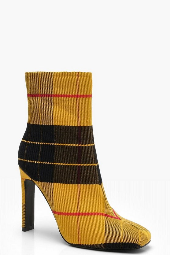 Flat Heel Tartan Square Toe Shoe Boots, Yellow, Donna