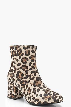 Leopard Low Block Heel Ankle Shoe Boots