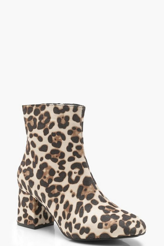 Leopard Low Block Heel Ankle Shoe Boots, Leopard, Donna