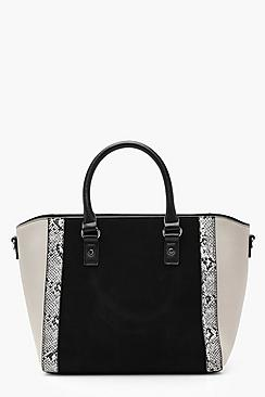 Faux Snake Trim Winged Tote