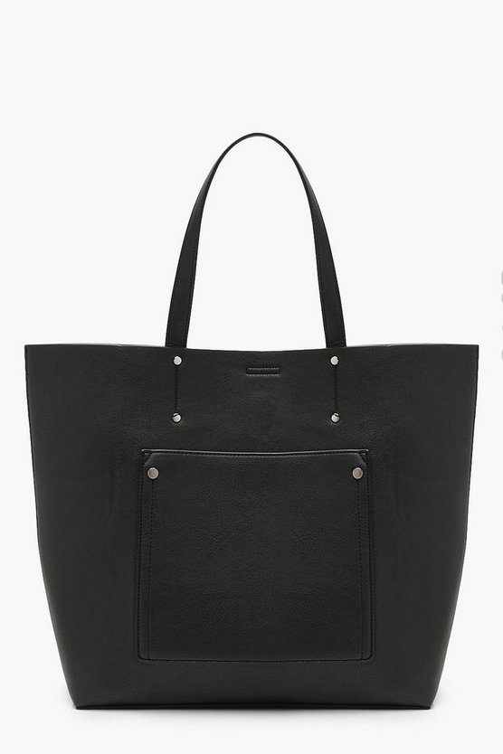 Womens Black Large Pocket Shopper Tote Bag