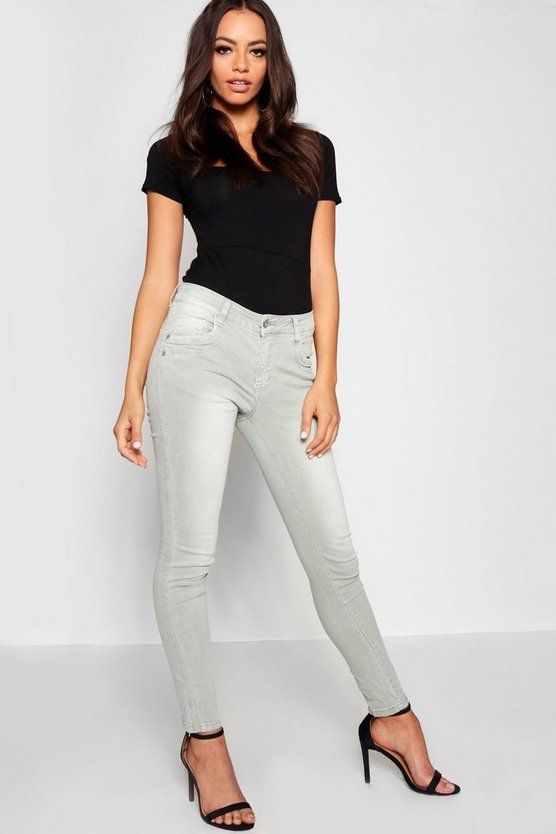 Chain Mail Side Stripe Skinny Jeans