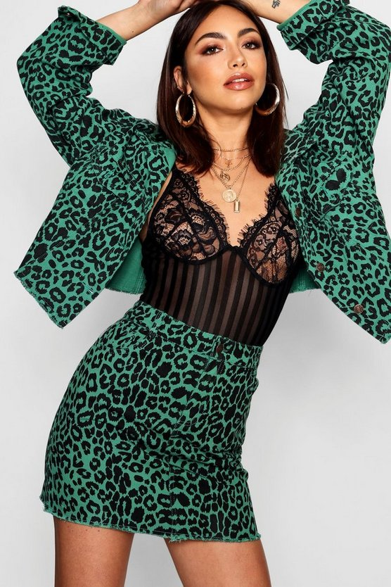 Womens Green Leopard Print Denim Skirt
