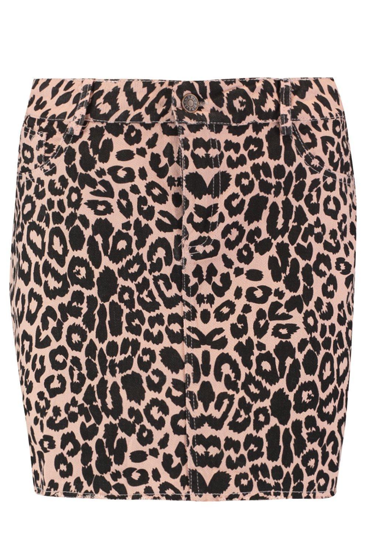 Leopard Denim Denim Denim Print pink pink Print Skirt pink Skirt Skirt Leopard Leopard Print Leopard Tqw5xpw