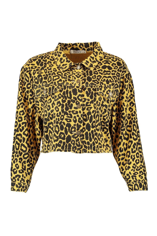 Trucker Leopard Jacket Denim Raw Hem mustard S7qxnqYfc
