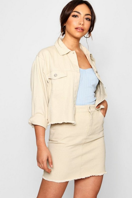 Monique Ecru Crop Denim Jacket
