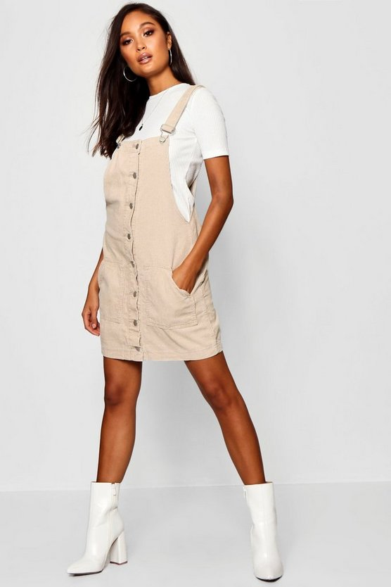 Womens Stone Button Down Cord Pinafore Dress