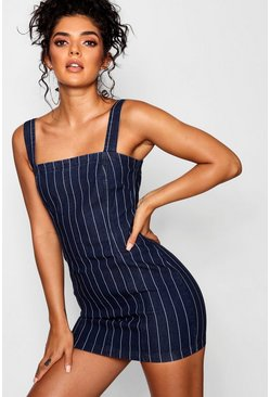 Blue Zip Back Stripe Bodycon Dress