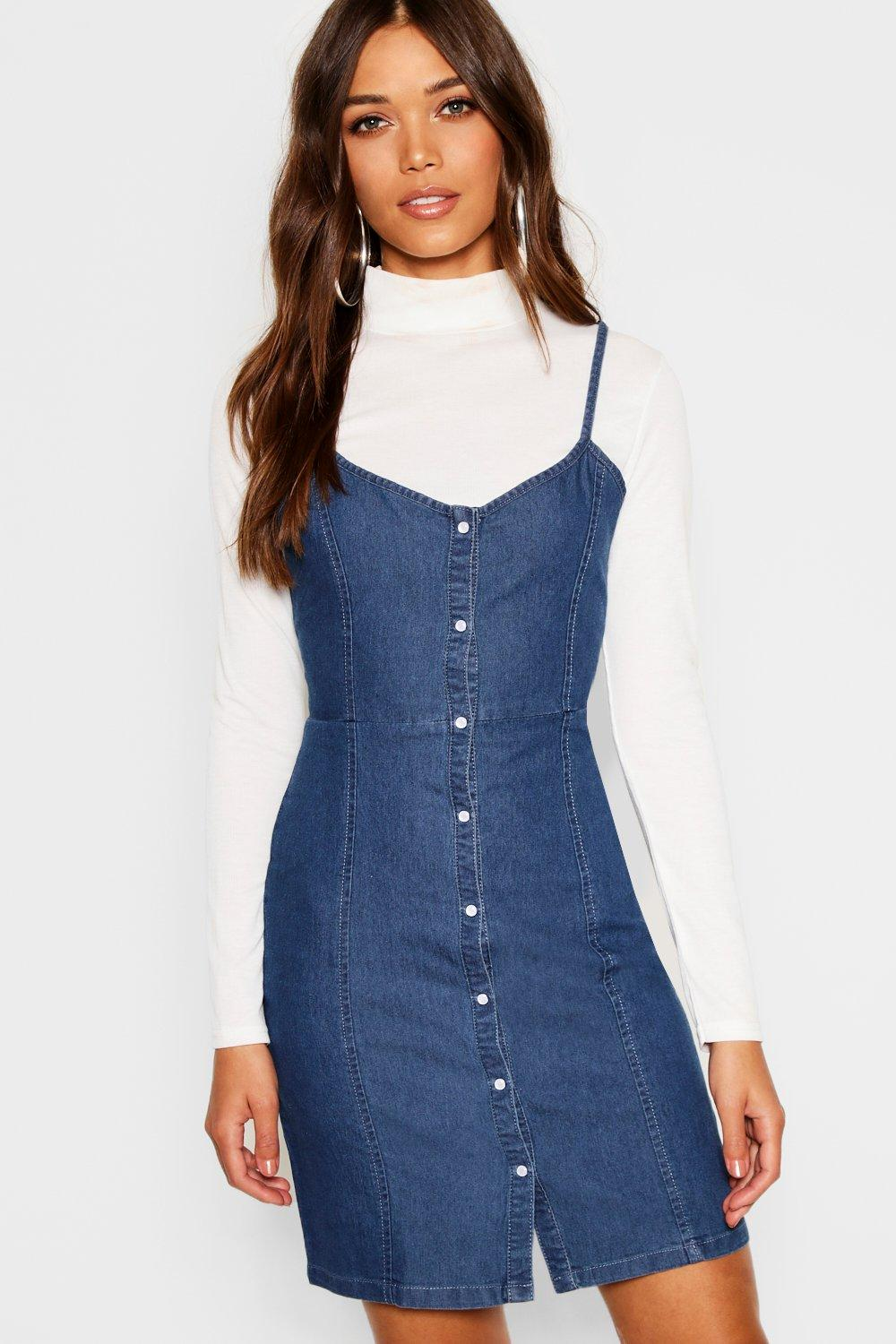 Strappy Popper Front Denim Dress | boohoo Canada