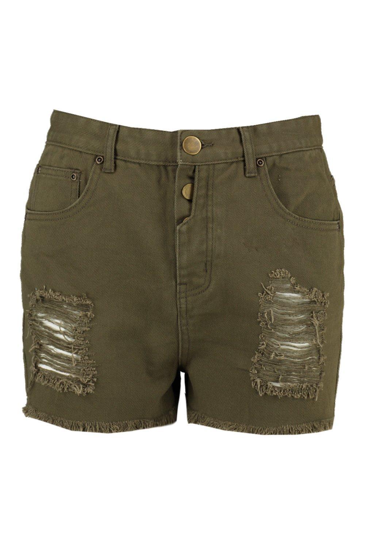 Pantalones denim caqui caqui cortos en Tía desgastados color ARwF7Aq