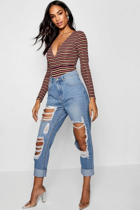 Mid blue Janae Distressed Denim Mom Jean
