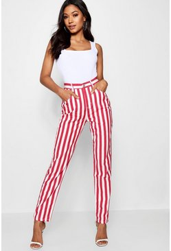 Womens Red Stripe Mom Jean