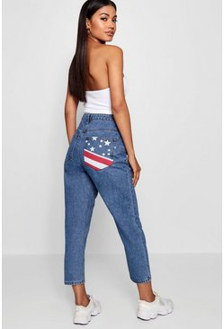 Womens Mid blue Rachael Stars and Stripes Pocket Mom Jean