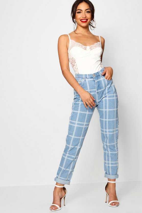 Sophie Check Print Mom Jeans