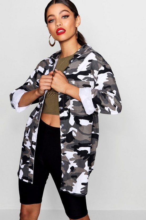 Womens Black Lara Mono Camo Denim Shacket