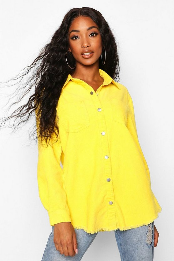 Norah Yellow Cord Raw Hem Shirt