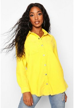Womens Norah Yellow Cord Raw Hem Shirt