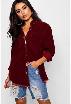 Womens Carli Burgundy Cord Raw Hem Shirt