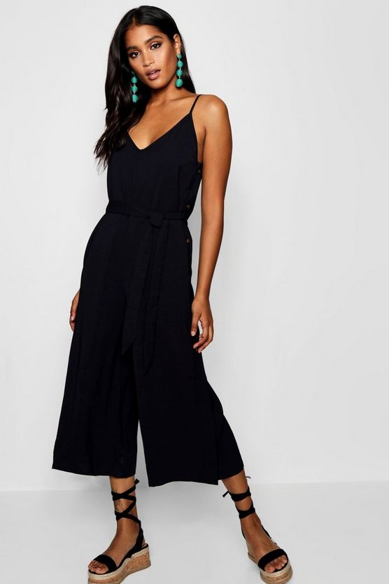 Womens Black Horn Button Side Culotte Jumpsuit