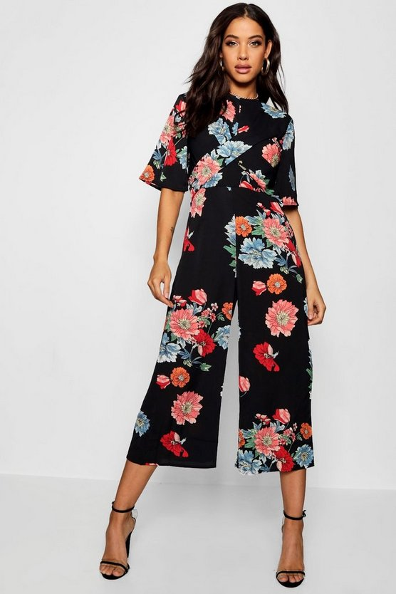 Large Floral Twist Front Jumpsuit
