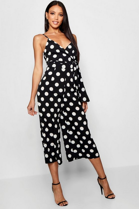 Black Large Polka Dot Culotte Twist Jumpsuit