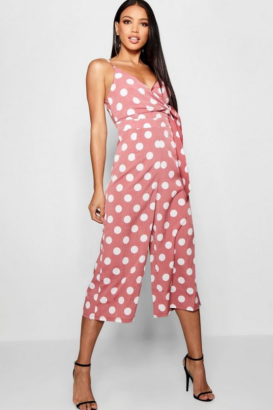 Large Polka Dot Culotte Twist Jumpsuit