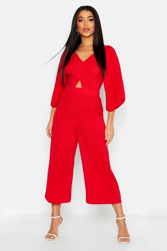 Womens Red Kimono Sleeve Culotte Jumpsuit
