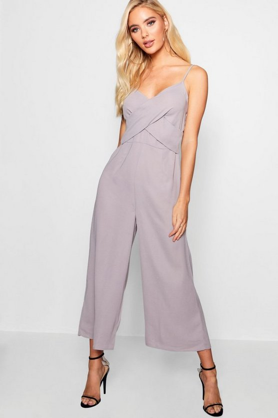 Womens Strappy Twist Detail Culotte Jumpsuit