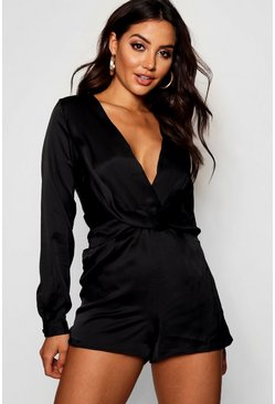 Womens Black Satin Twist Front Playsuit