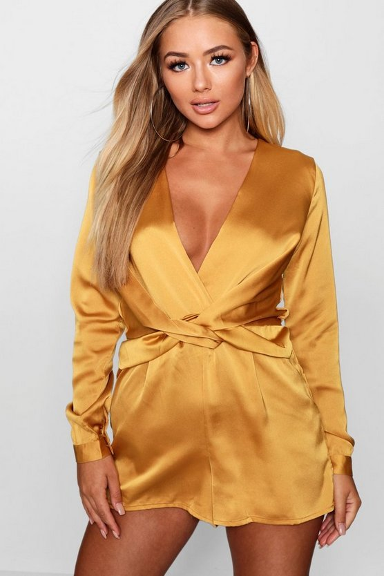 Mustard Satin Twist Front Playsuit