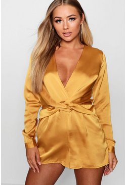 Womens Mustard Satin Twist Front Playsuit