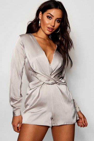 Womens Silver Satin Twist Front Playsuit