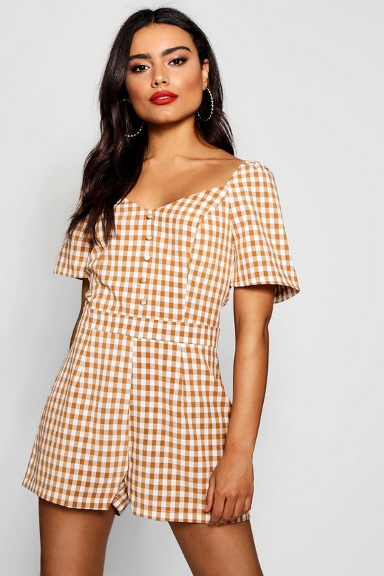 Checked Button Front Sweetheart Neck Playsuit