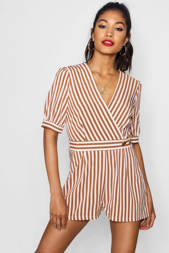 Kitty Wrap Striped Playsuit With Puff Sleeve