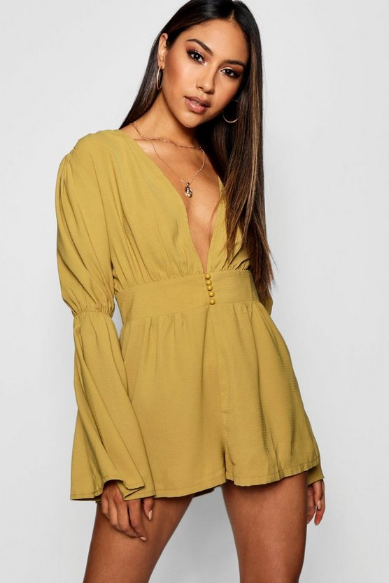 Plunge Button Front Flare Sleeve Playsuit