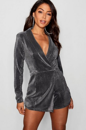 Womens Silver Metallic Tuxedo Style Playsuit