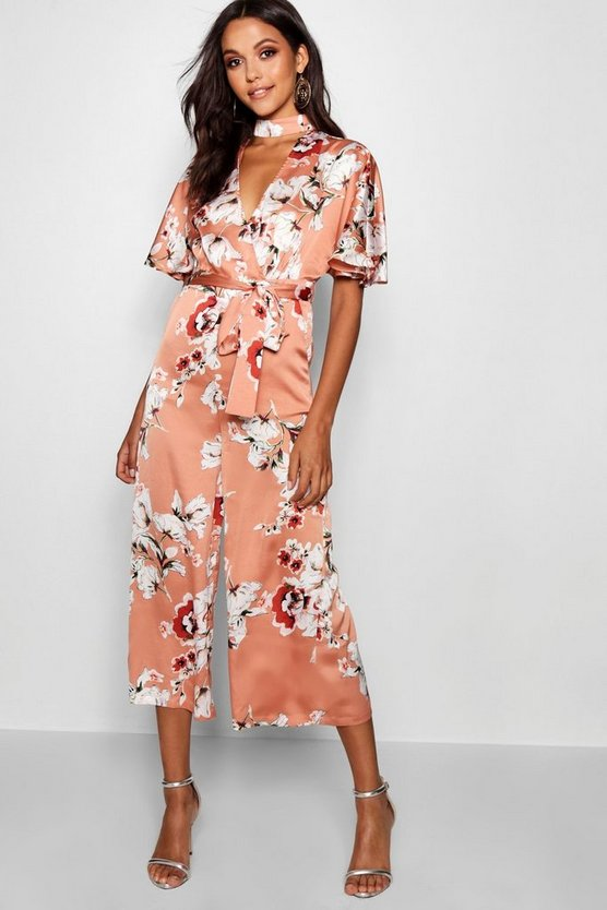 Womens Nude Floral Choker Style Culotte Jumpsuit