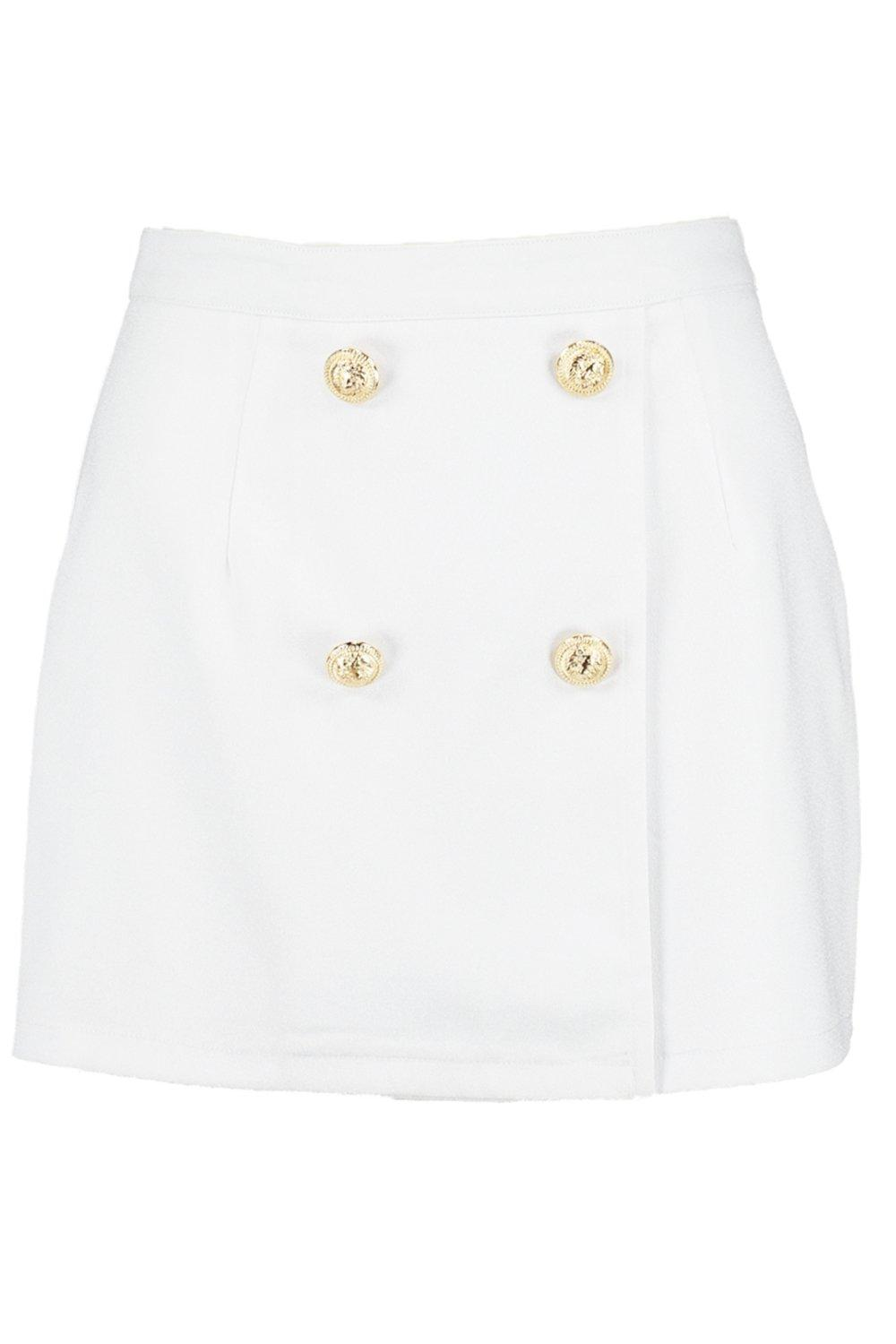 white Button Tailored Skort Detail Tailored Button vxOnXUvqY