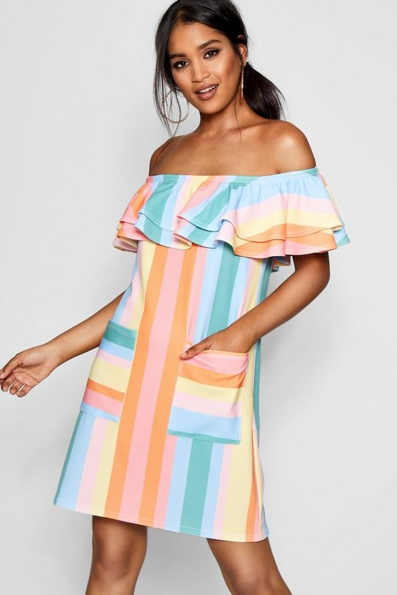 Womens Multi Pastel Stripe Off The Shoulder Shift Dress