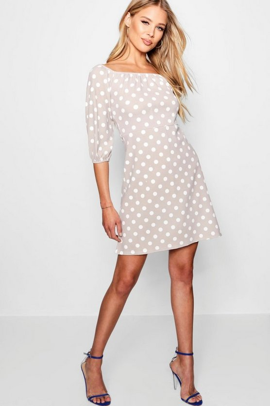 Tonal Polka Dot Blouson Sleeve Shift Dress