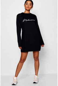Womens Black Woman Slogan Loopback Sweat Dress