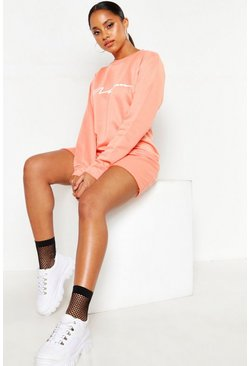 Womens Coral Woman Slogan Loopback Sweat Dress