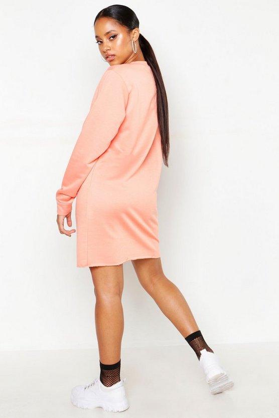Woman Slogan Loopback Sweat Dress