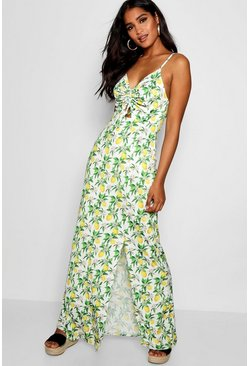 Womens Ivory Erin Lemon Print Ruched Maxi Dress