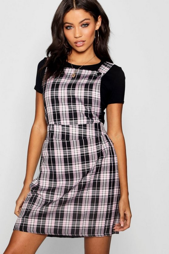 Womens Pink Zia Pleat Front Check Pinafore Dress