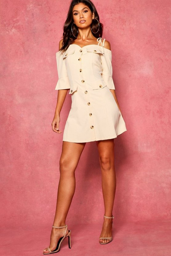 Eli Pocket Front Sweetheart Neck Utility Dress