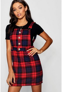 Womens Red Button Front Check Mini Pinafore Dress